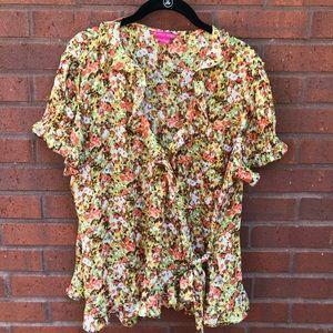 Sunny Leigh Wrap Shirt XL Fall Floral Orange Green